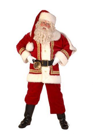 Kerstman Luxe: Kostuum, baard, laarskappen, handschoenen, riem en bel €70,-