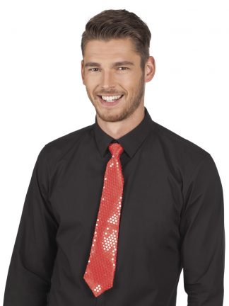 stropdas-pailletten-rood