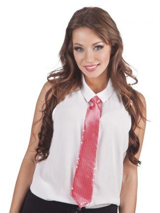stropdas-pailletten-roze