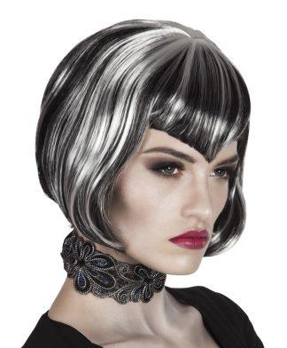 pruik kort grijs/zwart