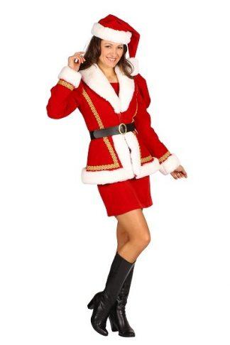 Kerstvrouwjurk met getailleerde jas, muts, handschoenen, bel