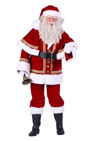 Kerstman Luxe met cape: Kostuum, baard, laarskappen, handschoenen, riem en bel €75,-