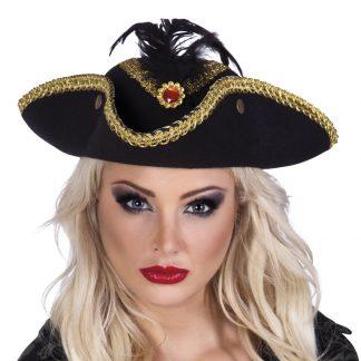 Piratenhoed Ruby Zwart met Veer