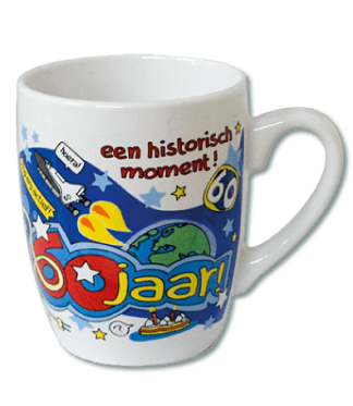 cartoon mok 60 jaar