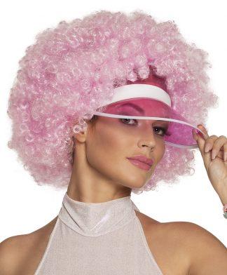 Pruik Afro Roze met zonneklep