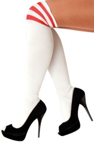 kousen wit met rode strepen