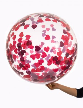 Bubble Ballon met Hartjes Confetti