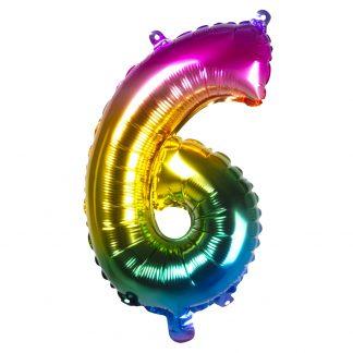 Folieballon gekleurd Cijfer 6