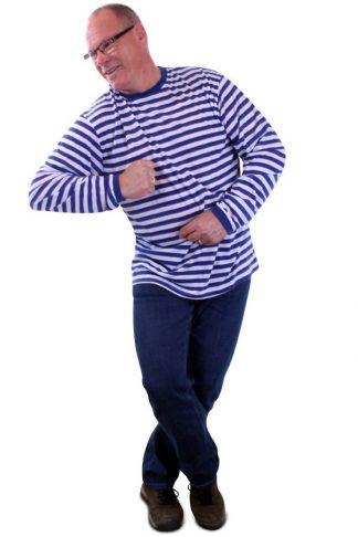 Streep shirt blauw wit