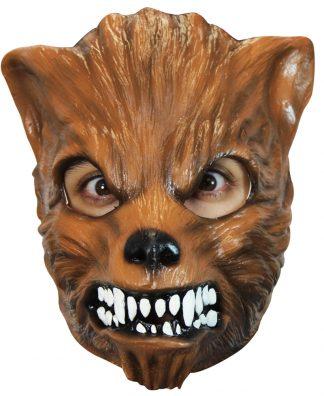 Latex masker bruine wolf
