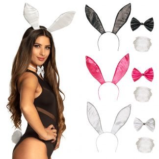 Bunny set (konijnen)oren, strik en diadeem