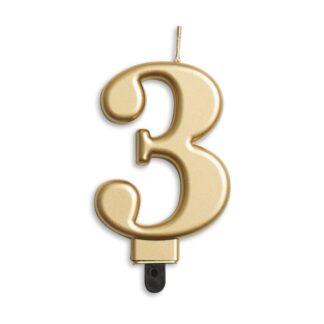 nummer kaarsje goud 3