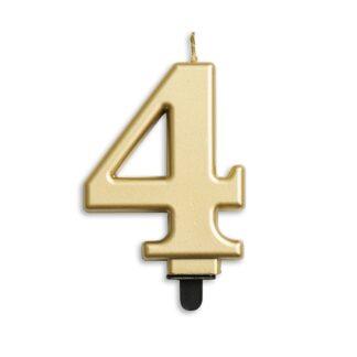 nummer kaarsje goud 4