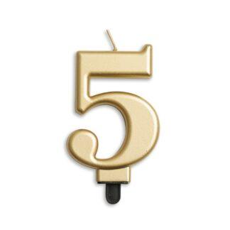 nummer kaarsje goud 5