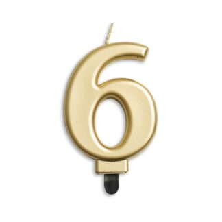 nummer kaarsje goud 6