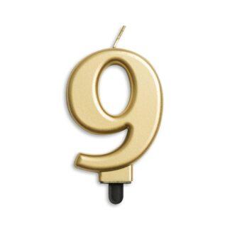 nummer kaarsje goud 9
